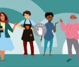 Desenho de seis personagens sob um fundo azul.