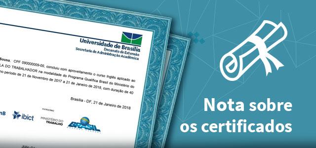 "Letreiro: ""nota sobre os certificados"""