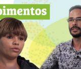 Letreiro: depoimentos. Foto de dois cursistas que gravaram vídeos contando sobre a experiência na Escola do Trabalhador.